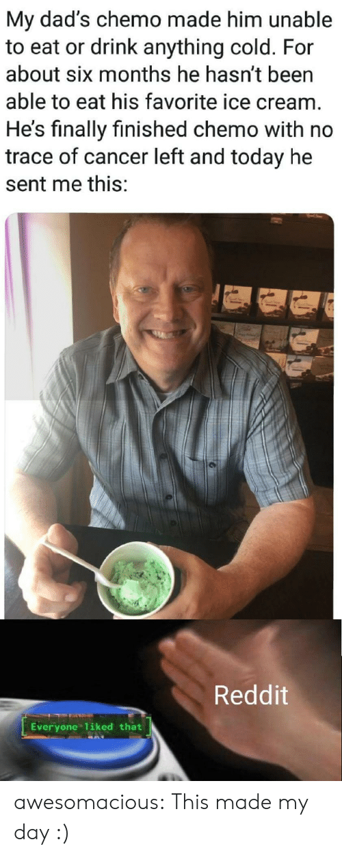 His Favorite: My dad's chemo made him unable  to eat or drink anything cold. For  about six months he hasn't been  able to eat his favorite ice cream.  He's finally finished chemo with no  trace of cancer left and today he  sent me this:  Reddit  Everyone 1iked that awesomacious:  This made my day :)