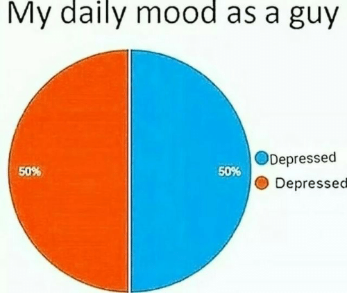 50-50: My daily mood as a guy  Depressed  50%  50%  Depressed