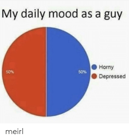 50-50: My daily mood as a guy  Horny  50%  50%  Depressed meirl