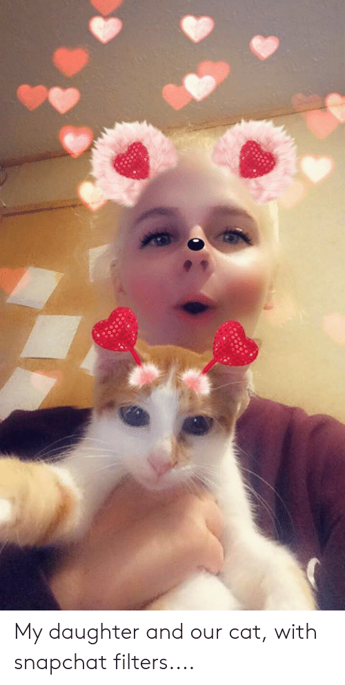 Snapchat, Cat, and Daughter: My daughter and our cat, with snapchat filters....