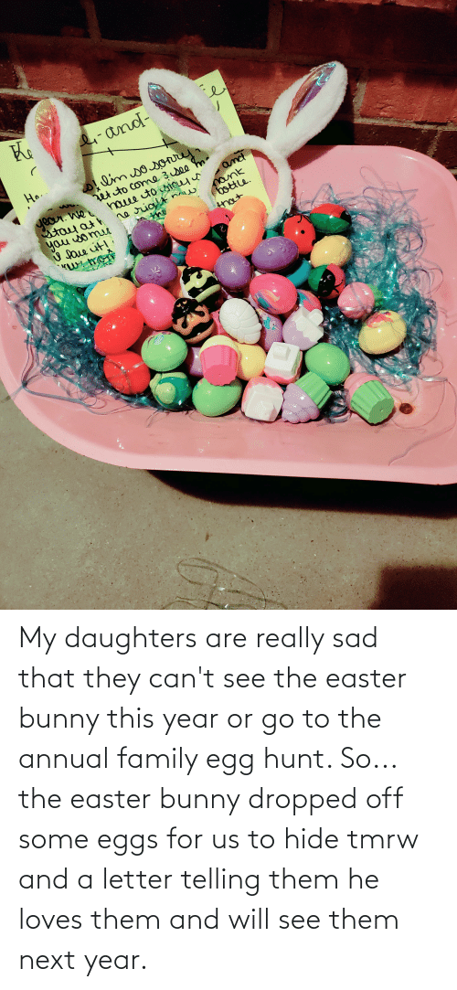Daughters: My daughters are really sad that they can't see the easter bunny this year or go to the annual family egg hunt. So... the easter bunny dropped off some eggs for us to hide tmrw and a letter telling them he loves them and will see them next year.