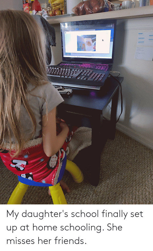Daughters: My daughter's school finally set up at home schooling. She misses her friends.