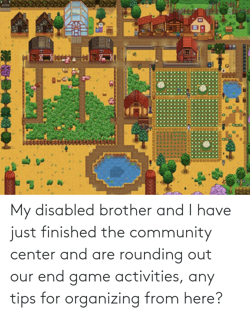 Organizing: My disabled brother and I have just finished the community center and are rounding out our end game activities, any tips for organizing from here?