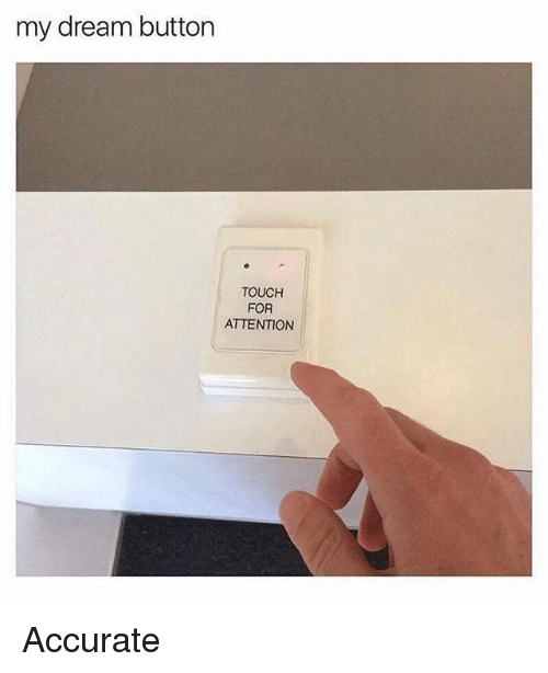 Memes, 🤖, and Dream: my dream button  TOUCH  FOR  ATTENTION Accurate