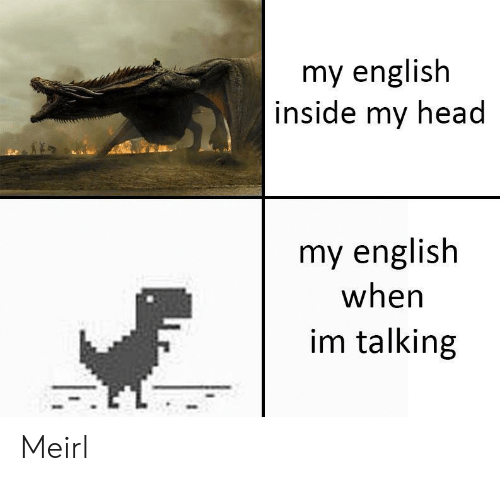 Head, English, and MeIRL: my english  inside my head  my english  when  im talking Meirl