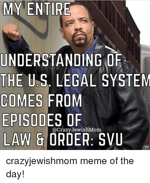 Meme, Jewish, and Law & Order: MY ENTIRE  UNDERSTANDING ORF  THE U.S. LEGAL SYSTEM  COMES FROM  EPISODES OF  LAW & ORDER: SVU  @CrazyJewishMom crazyjewishmom meme of the day!