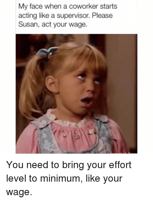 Dank, My Face When, and Acting: My face when a coworker starts  acting like a supervisor. Please  Susan, act your wage. You need to bring your effort level to minimum, like your wage.