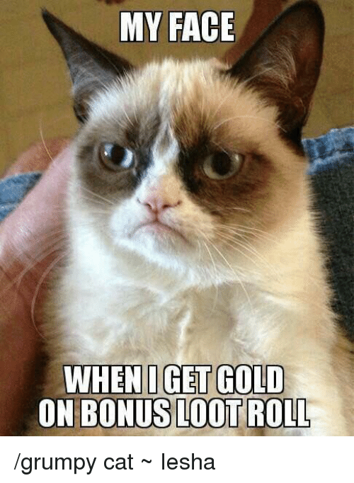 Memes, Grumpy Cat, and 🤖: MY FACE  WHENI GET GOLD  ON BONUS LOOT /grumpy cat  ~ Iesha