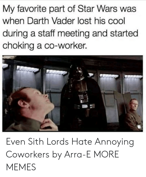 Staff Meeting: My favorite part of Star Wars was  when Darth Vader lost his cool  during a staff meeting and started  choking a co-worker. Even Sith Lords Hate Annoying Coworkers by Arra-E MORE MEMES
