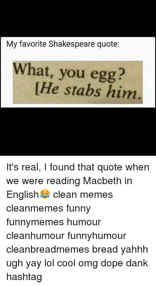 Clean Memes: My favorite Shakespeare quote:  What, you egg?  He stabs him It's real, I found that quote when we were reading Macbeth in English😂 clean memes cleanmemes funny funnymemes humour cleanhumour funnyhumour cleanbreadmemes bread yahhh ugh yay lol cool omg dope dank hashtag