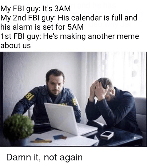 About Us: My FBI guy: It's 3AM  My 2nd FBI guy: His calendar is full and  his alarm is set for 5AM  1st FBI guy: He's making another meme  about us Damn it, not again
