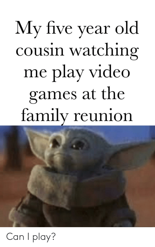 Family, Games, and Video: My five year  cousin watching  play video  old  me  games at the  family reunion Can I play?