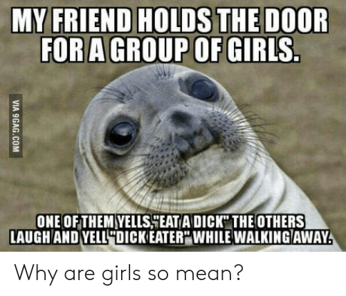 """Why Are Girls: MY FRIEND HOLDS THE DOOR  FORA GROUP OF GIRLS  ONE OFTHEM YELLSHEAT A DICK"""" THE OTHERS  LAUGHAND YELL4DICKEATER WHILE WALKINGAWAY Why are girls so mean?"""