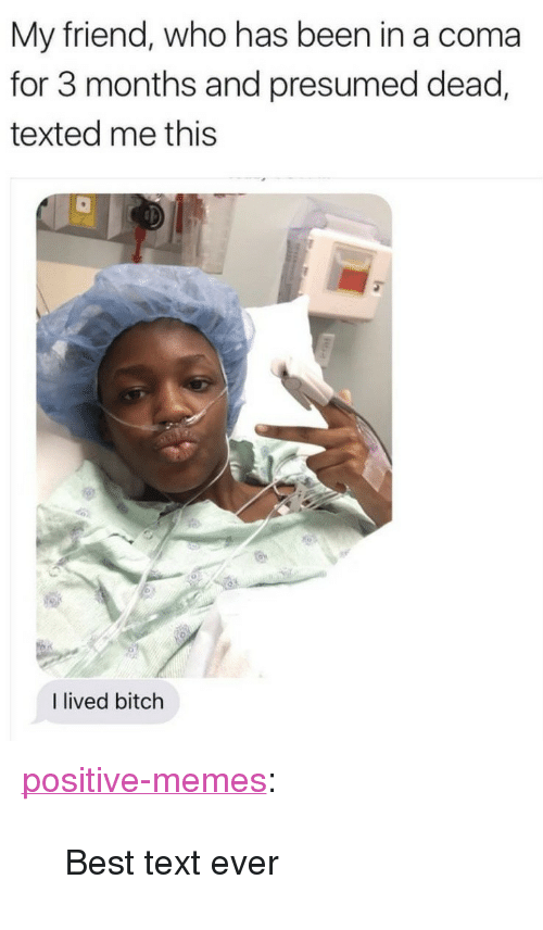 "I Lived Bitch: My friend, who has been in a coma  for 3 months and presumed dead,  texted me this  I lived bitch <p><a href=""https://positive-memes.tumblr.com/post/166395954630/best-text-ever"" class=""tumblr_blog"">positive-memes</a>:</p>  <blockquote><p>Best text ever</p></blockquote>"