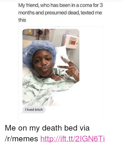 "I Lived Bitch: My friend, who has been in a coma for 3  months and presumed dead, texted me  this  I lived bitch <p>Me on my death bed via /r/memes <a href=""http://ift.tt/2IGN6Ti"">http://ift.tt/2IGN6Ti</a></p>"