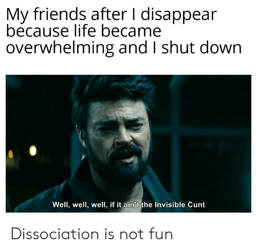 Friends, Life, and Cunt: My friends after I disappear  because life became  overwhelming and I shut down  Well, well, well, if it ain't the Invisible Cunt Dissociation is not fun