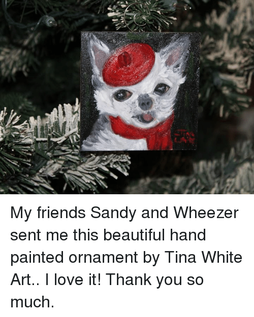 Beautiful, Friends, and Love: My friends Sandy and Wheezer sent me this beautiful hand painted ornament by Tina White Art..  I love it!  Thank you so much.