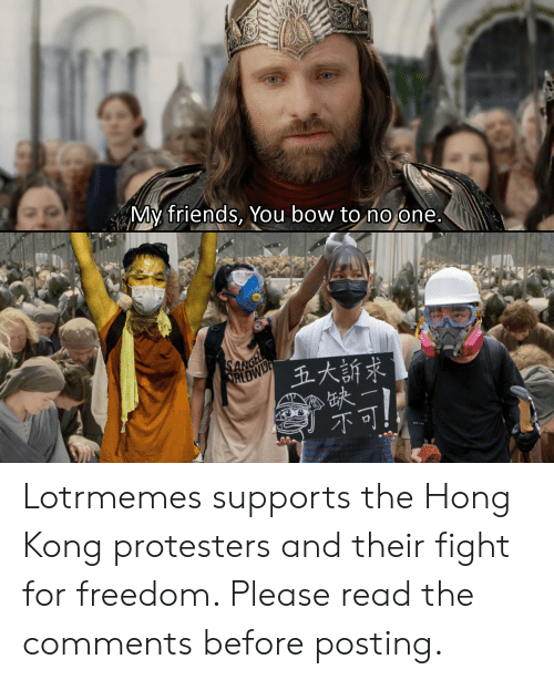 my friends you bow to no one: My friends, You bow to no one.  SARGE  RLDWD  五大訴求 Lotrmemes supports the Hong Kong protesters and their fight for freedom. Please read the comments before posting.