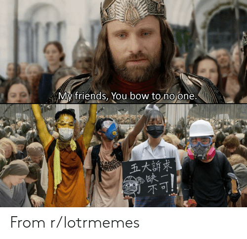 my friends you bow to no one: My friends, You bow to no one.  SARGE  RLDWID  五大訴求 From r/lotrmemes