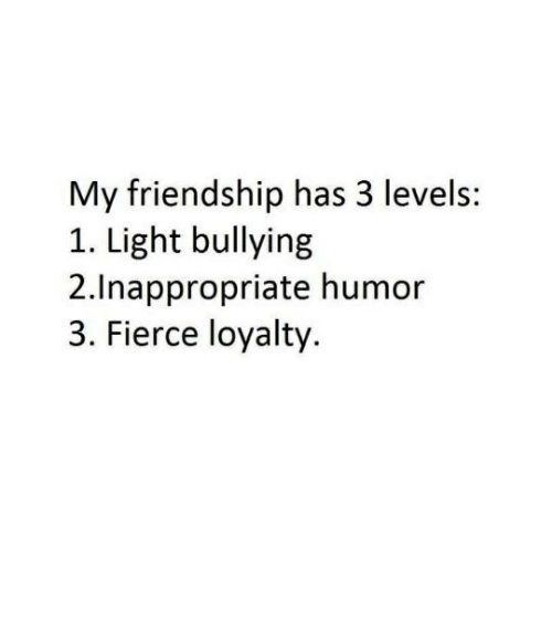 lighted: My friendship has 3 levels:  1. Light bullying  2.Inappropriate humor  3. Fierce loyalty