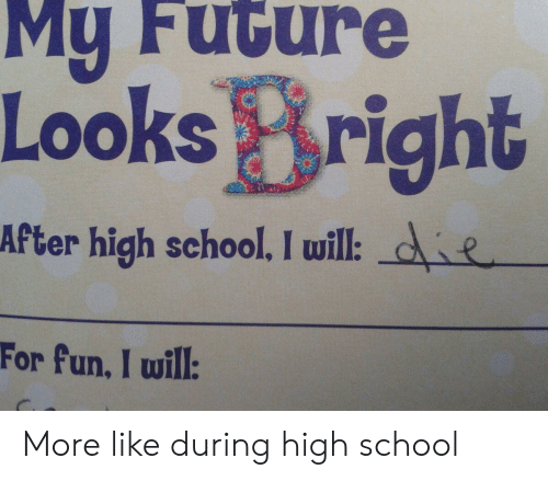 Fun I: My Future  Looks Bright  After high school. I will: de  For fun, I will: More like during high school