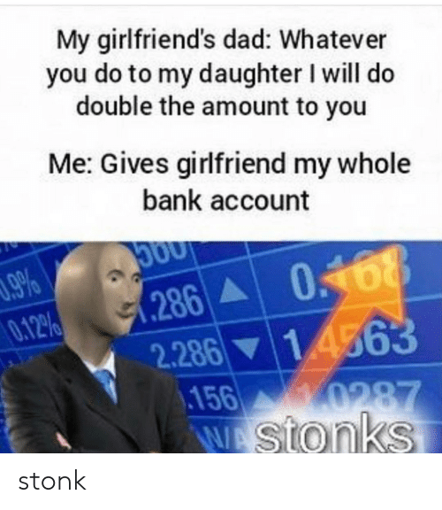 Dad, Bank, and Girlfriend: My girlfriend's dad: Whatever  you do to my daughter I will do  double the amount to you  Me: Gives girlfriend my whole  bank account  96  286 0168  0.12%  14363  2.286  156  0287  WAstonks stonk