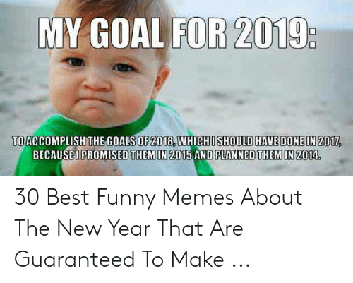 New Love Memes: MY GOAL FOR 2019  TOACCOMPLISH THEGOALS OF 2018, WHICHOSHOUlD HAVE DONEIN 2011,  EOPROMISED THEMIN 2015 AND PLANNED THEM IN2014.  BECAUS 30 Best Funny Memes About The New Year That Are Guaranteed To Make ...