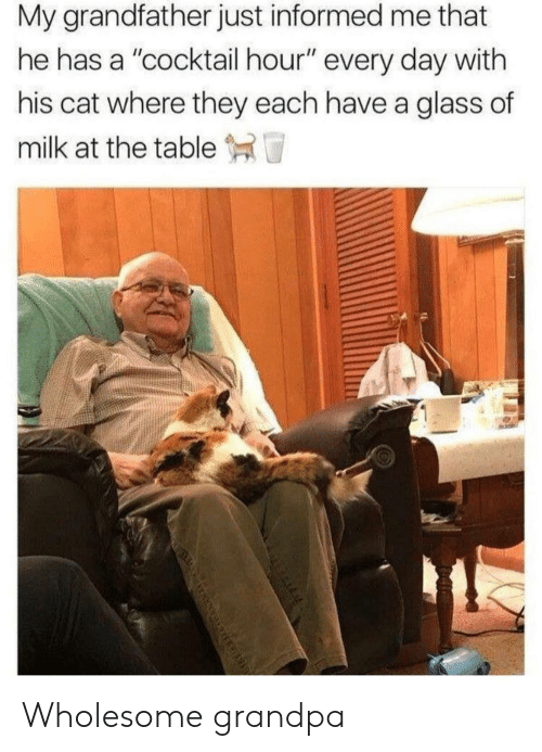 """Grandpa, Wholesome, and Cat: My grandfather just informed me that  he has a """"cocktail hour"""" every day with  his cat where they each have a glass of  milk at the table T Wholesome grandpa"""