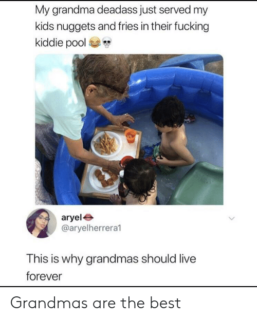 Kiddie: My grandma deadass just served my  kids nuggets and fries in their fucking  kiddie pool  aryel  @aryelherreral  This is why grandmas should live  forever Grandmas are the best