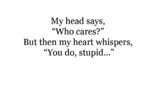 """Says Who: My head says,  """"Who cares?""""  But then my heart whispers,  """"You do, stupid...""""  35"""