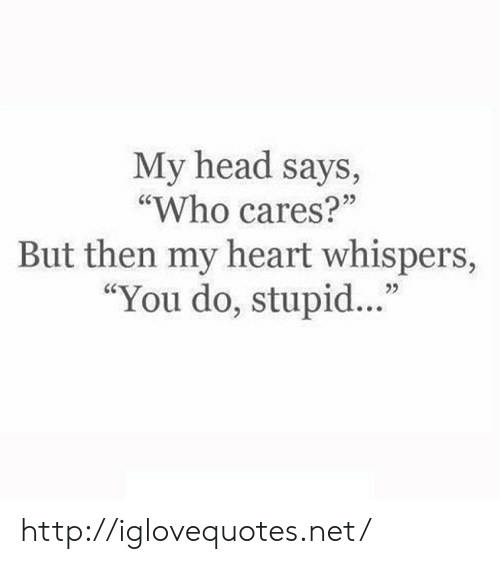 """Says Who: My head says,  """"Who cares?""""  But then my heart whispers,  """"You do, stupid...""""  25 http://iglovequotes.net/"""