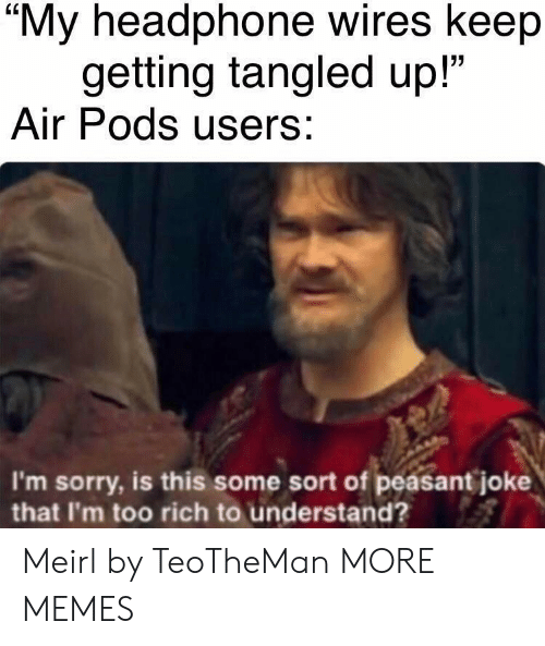 """Dank, Memes, and Sorry: """"My headphone wires keep  getting tangled up!""""  Air Pods users:  I'm sorry, is this some sort of peasant joke  that I'm too rich to understand? Meirl by TeoTheMan MORE MEMES"""