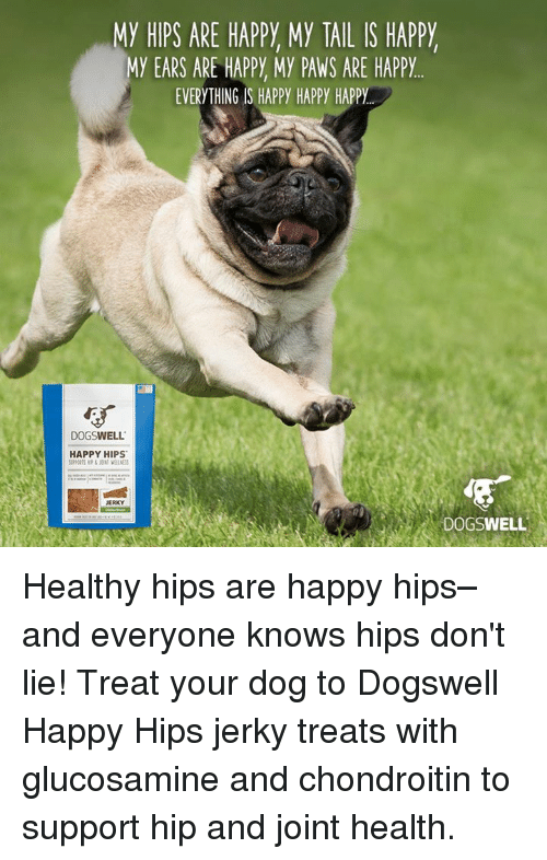 Hips Don't Lie: MY HIPS ARE HAPPY My TAIL IS HAPPY  MY EARS ARE HAPPY My PAWS ARE HAPPY  EVERYTHING IS HAPPY HAPPY HAPPY  DOGSWELL  HAPPY HIPS  JERKY  DOGSWELL Healthy hips are happy hips–and everyone knows hips don't lie! Treat your dog to Dogswell Happy Hips jerky treats with glucosamine and chondroitin to support hip and joint health.
