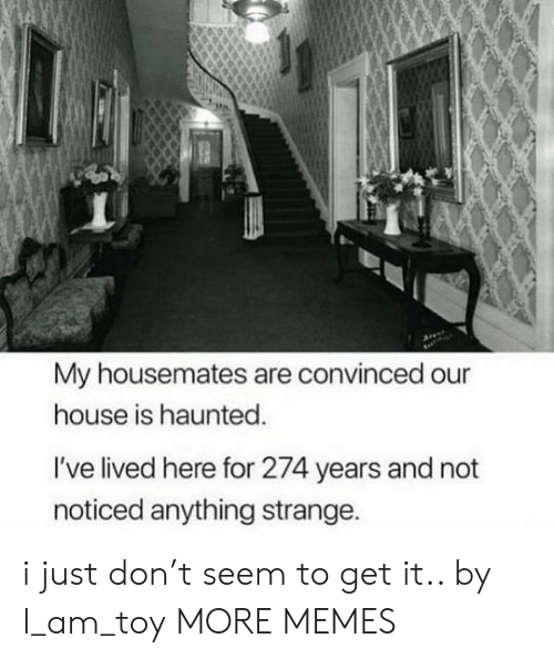 Dank, Memes, and Target: My housemates are convinced our  house is haunted.  I've lived here for 274 years and not  noticed anything strange. i just don't seem to get it.. by I_am_toy MORE MEMES