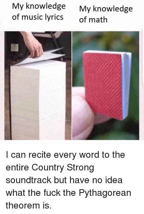Music, Fuck, and Lyrics: My knowledge  of music lyrics  My knowledge  of math I can recite every word to the entire Country Strong soundtrack but have no idea what the fuck the Pythagorean theorem is.