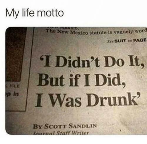 If I Did: My life motto  Now Mexico statute is vaguely word  Se SUIT on PAGE  THe  T Didn't Do It,  But if I Did  / I Was Drunk  p in  By ScoTT SANDLIN  nornnl Staff Writer