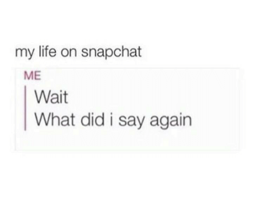 Memes, Snapchat, and 🤖: my life on snapchat  ME  Wait  What did i say again