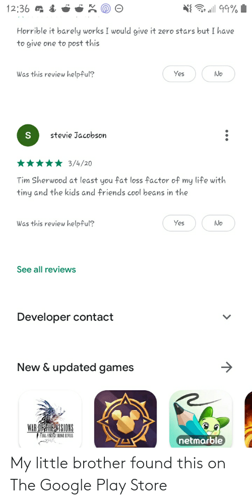 Google Play: My little brother found this on The Google Play Store