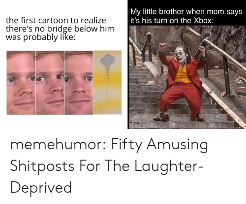 Little Brother: My little brother when mom says  it's his turn on the Xbox:  the first cartoon to realize  there's no bridge below him  was probably like: memehumor:  Fifty Amusing Shitposts For The Laughter-Deprived