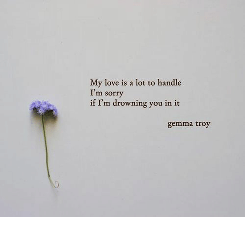 Love, Sorry, and Troy: My love is a lot to handle  I'm sorry  if I'm drowning you in it  gemma troy