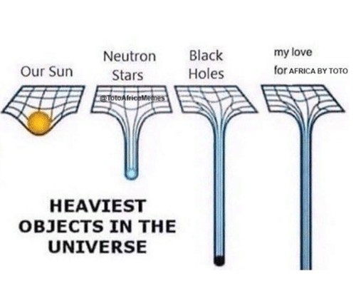 Heaviest Objects In The Universe: my love  Neutron Blaclk  Holes  or AFRICA BY TOTO  Our Sun  Stars  fricaMe  HEAVIEST  OBJECTS IN THE  UNIVERSE