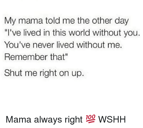 "Memes, Wshh, and World: My mama told me the other day  ""l've lived in this world without you.  You've never lived without me.  Remember that""  Shut me right on up. Mama always right 💯 WSHH"