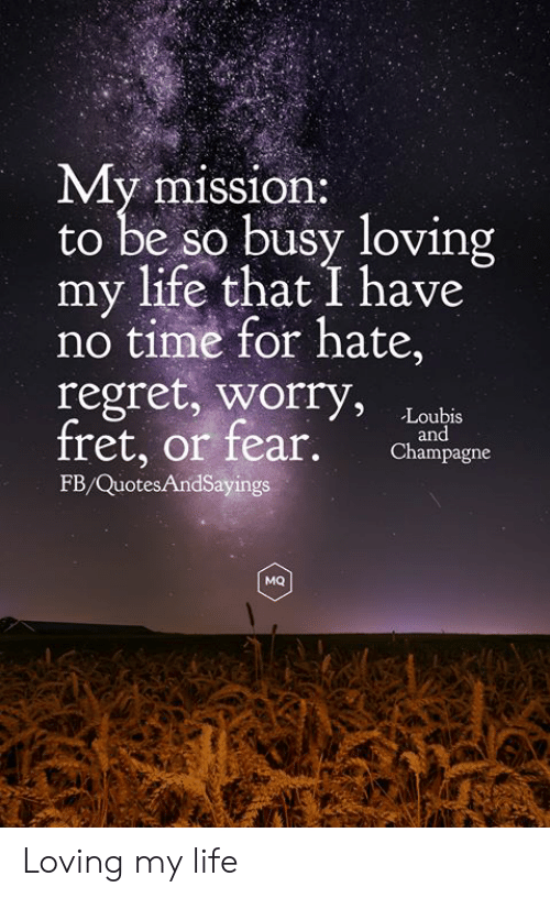 Life, Regret, and Champagne: My mission:  to be so busy loving  my life that I have  no time for hate,  regret, worry,  fret, or fear.  Loubis  and  Champagne  FB/QuotesAndSayings  MQ Loving my life