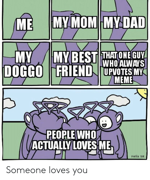My Meme: MY MOM MY DAD  ME  MYBEST THATONE GUY  WHO ALWAYS  DOGGOFRIEND UPVOTES MY  MEME  MY  PEOPLE WHO  ACTUALLY LOVES ME  Felix SR Someone loves you