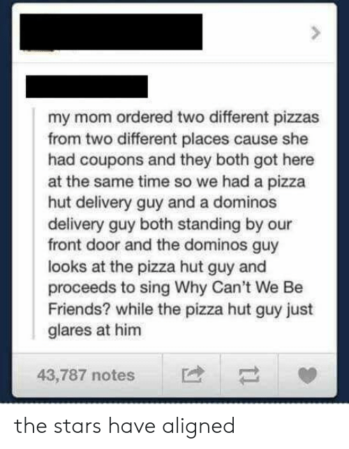 Domino's: my mom ordered two different pizzas  from two different places cause she  had coupons and they both got here  at the same time so we had a pizza  hut delivery guy and a dominos  delivery guy both standing by our  front door and the dominos guy  looks at the pizza hut guy and  proceeds to sing Why Can't We Be  Friends? while the pizza hut guy just  glares at him  43,787 notes the stars have aligned