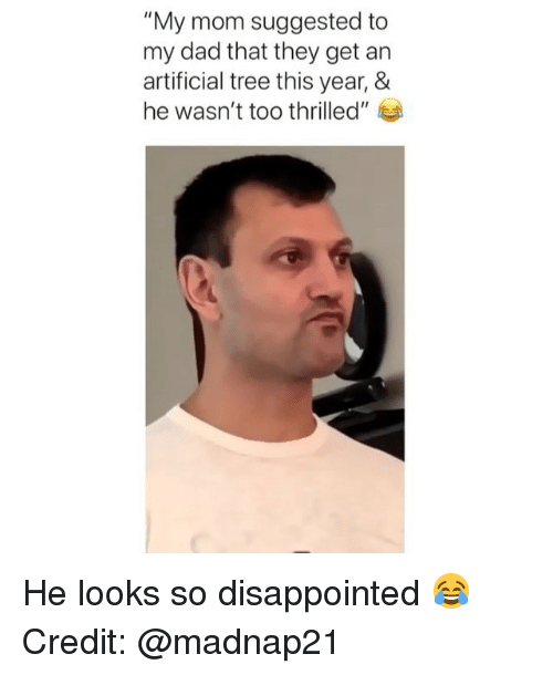 """Dad, Disappointed, and Memes: """"My mom suggested to  my dad that they get an  artificial tree this year, &  he wasn't too thrilled"""" He looks so disappointed 😂 Credit: @madnap21"""