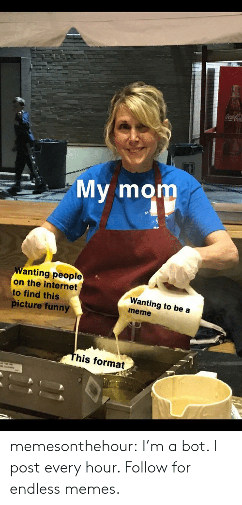 Funny, Internet, and Meme: My mom  Wanting people  on the internet  to find this  picture funny  Wanting to be a  meme  his format memesonthehour:  I'm a bot. I post every hour. Follow for endless memes.