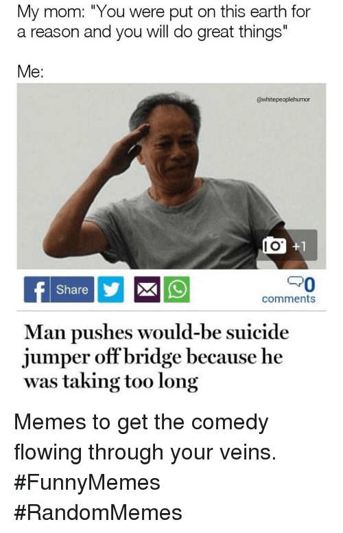 """Memes, Earth, and Suicide: My mom: """"You were put on this earth for  a reason and you will do great things""""  Me:  @whitepeoplehumor  I O  PO  Share  comments  Man pushes would-be suicide  jumper offbridge because he  was taking too long Memes to get the comedy flowing through your veins. #FunnyMemes #RandomMemes"""