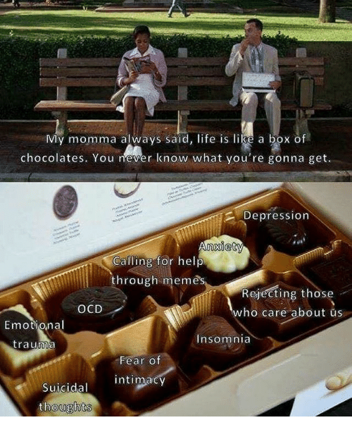 Life, Memes, and Depression: My momma always said, life is like a box of  chocolates. You never know what you're gonna get.  Depression  nxiety  Calling for help  through memes  Rejecting those  who care about us  OCD  Emotional  Insomnia  trauma  Fear o  Fear Of  intimacy  Suicidal  oughts