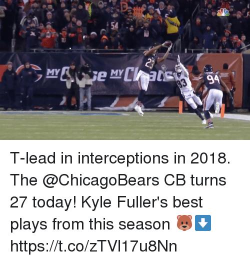 chicagobears: MY  MY T-lead in interceptions in 2018.  The @ChicagoBears CB turns 27 today!  Kyle Fuller's best plays from this season 🐻⬇️ https://t.co/zTVl17u8Nn